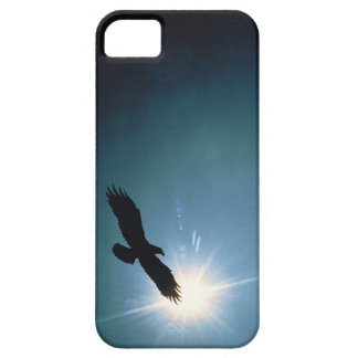 Silhouette of bald eagle flying in sky iPhone 5 cases