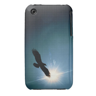 Silhouette of bald eagle flying in sky iPhone 3 case