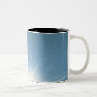 Silhouette of bald eagle flying in sky coffee mug