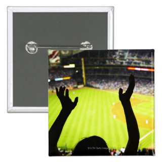 Silhouette of Baseball fan waving hands in the Button