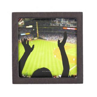 Silhouette of Baseball fan waving hands in the Gift Box