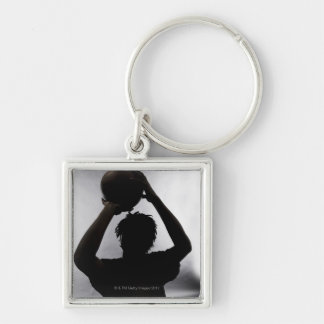 Silhouette of basketball player keychain