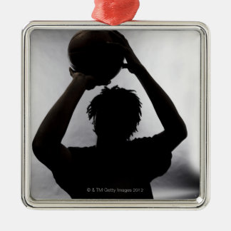 Silhouette of basketball player metal ornament