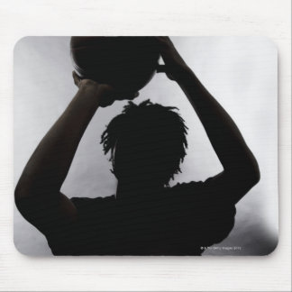 Silhouette of basketball player mouse pad
