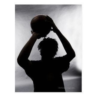Silhouette of basketball player postcard