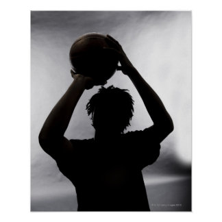 Silhouette of basketball player poster
