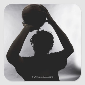Silhouette of basketball player square sticker