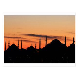 Silhouette of Blue mosque and Hagia Sophia Postcard