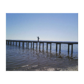 Silhouette of Boy on Pier Canvas Print