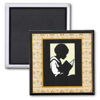 Silhouette of boy reading 2 inch square magnet