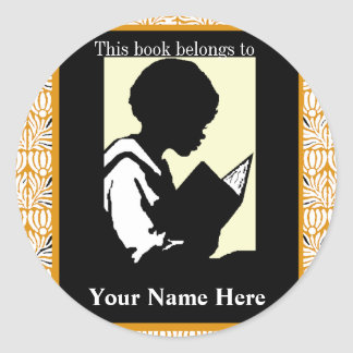 Silhouette of Boy Reading ~ Bookplate