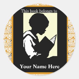 Silhouette of Boy Reading ~ Bookplate Classic Round Sticker