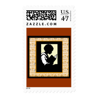 Silhouette of boy reading postage stamp