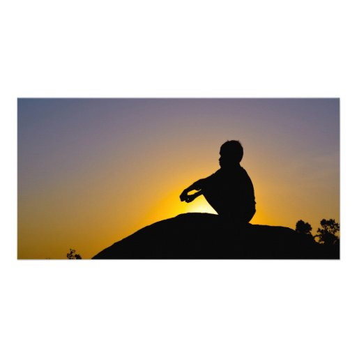 Silhouette of boy sitting o rock personalized photo card
