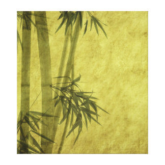 Silhouette of branches of a bamboo on paper canvas print