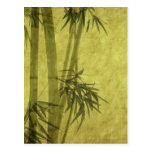 Silhouette of branches of a bamboo on paper postcard