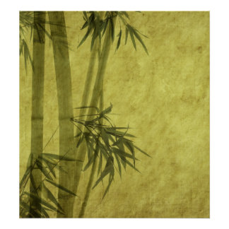 Silhouette of branches of a bamboo on paper poster