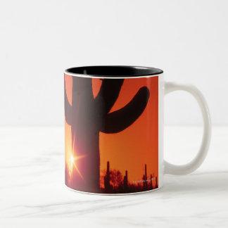 Silhouette of cactus at dusk , Saguaro National Two-Tone Coffee Mug