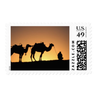 Silhouette of camel caravan on the desert at 2 postage