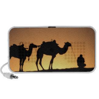 Silhouette of camel caravan on the desert at 2 travelling speaker