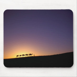 Silhouette of camel caravan on the desert at mouse pad