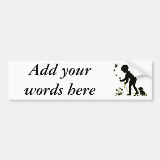 Silhouette of child picking flowers with dog bumper sticker