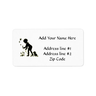 Silhouette of child picking flowers with dog label