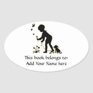 Silhouette of child picking flowers with dog oval sticker