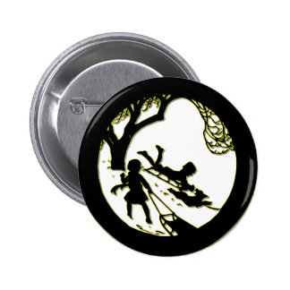 Silhouette of children sledding with their dog pinback button