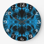 Silhouette of Colored Smoke Abstract blue black Clocks
