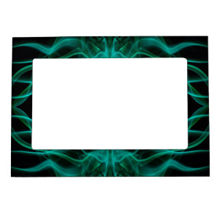 Silhouette of Colored Smoke Abstract green black Magnetic Frame