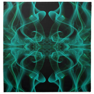 Silhouette of Colored Smoke Abstract green black Printed Napkins