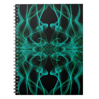 Silhouette of Colored Smoke Abstract green black Spiral Note Book