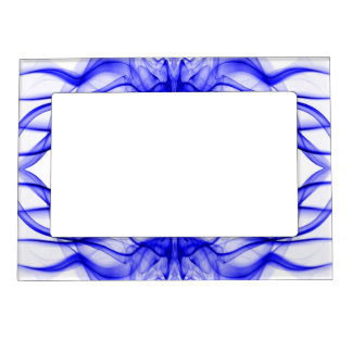 Silhouette of Colored Smoke Abstract Pattern Blue Magnetic Photo Frame