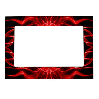 Silhouette of Colored Smoke Abstract red black Magnetic Picture Frame
