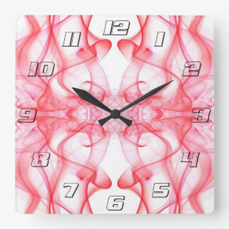 Silhouette of Colored Smoke Abstract red on white Square Wall Clocks