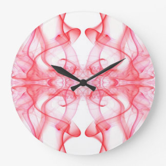 Silhouette of Colored Smoke Abstract red on white Clocks