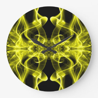 Silhouette of Colored Smoke Abstract yellow Large Clock
