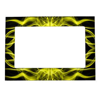 Silhouette of Colored Smoke Abstract yellow Magnetic Photo Frame