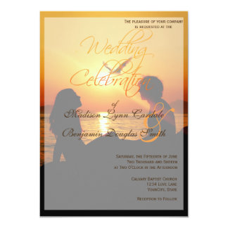 Silhouette of couple in sunset on the beach card