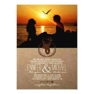 Silhouette of couple in sunset on the beach /deer card