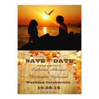 Silhouette of couple in sunset on the beach /fall card