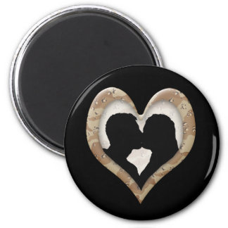 Silhouette of Couple Kissing (Camouflage Heart) 2 Inch Round Magnet