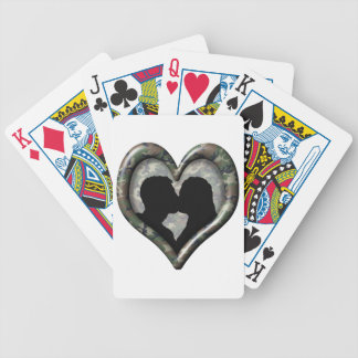 Silhouette of Couple Kissing (Camouflage Heart) Bicycle Playing Cards