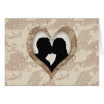 Silhouette of Couple Kissing (Camouflage Heart) Greeting Card