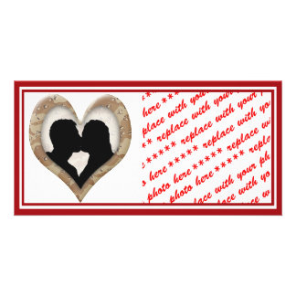Silhouette of Couple Kissing (Camouflage Heart) Card