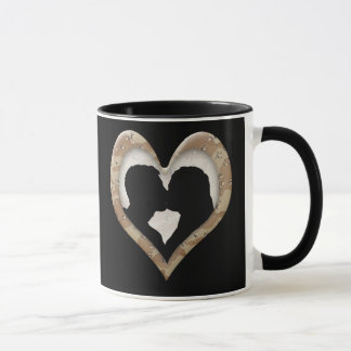 Silhouette of Couple Kissing (Camouflage Heart) Mug