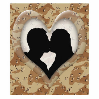 Silhouette of Couple Kissing (Camouflage Heart) Standing Photo Sculpture