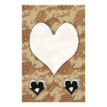 Silhouette of Couple Kissing (Camouflage Heart) Stationery Paper
