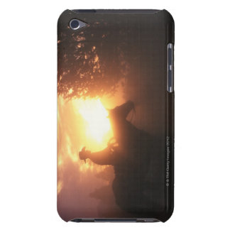 Silhouette of cowboy on a horse iPod touch case